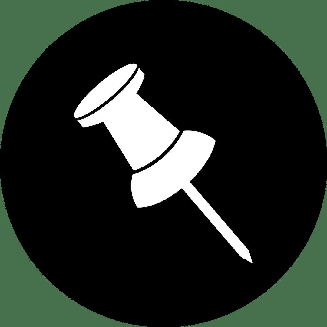 Icono chincheta blanca en fondo negro