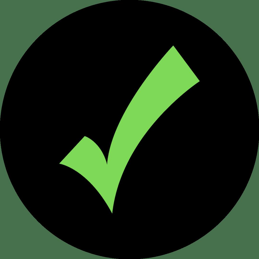 Icono negro visto verde Correcto