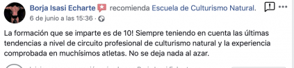Opinión valoración curso experto entrenador personal escuela culturismo natural Roberto Amorosi, Borja Isasi Echarte