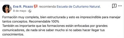 Opinión valoración curso experto entrenador personal escuela culturismo natural Roberto Amorosi, Eva R. Picazo