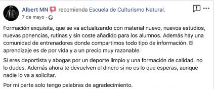Opinión valoración curso experto entrenador personal escuela culturismo natural Roberto Amorosi, Albert MN